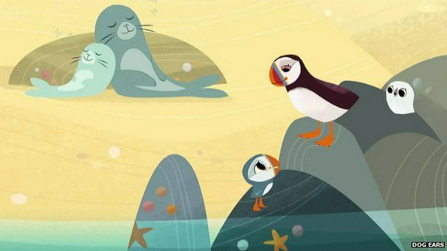 Puffin Rock characters make friends and hunt for food across the Irish island