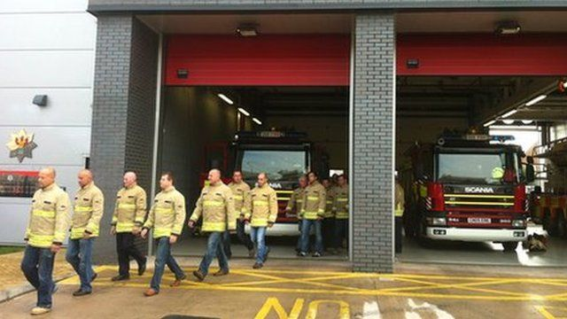 Firefighters walk-out at Cardiff Central Fire Station