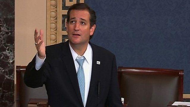 US Senator Ted Cruz speaks on the Senate floor on Capitol Hill in Washington, on 25 September 2013