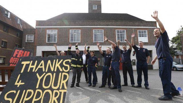Firefighters on strike