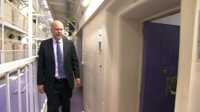 Chris Grayling visiting prison