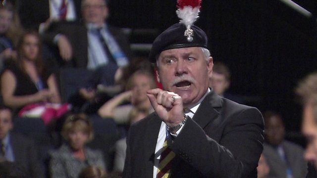 Retired army colonel shouting at Philip Hammond
