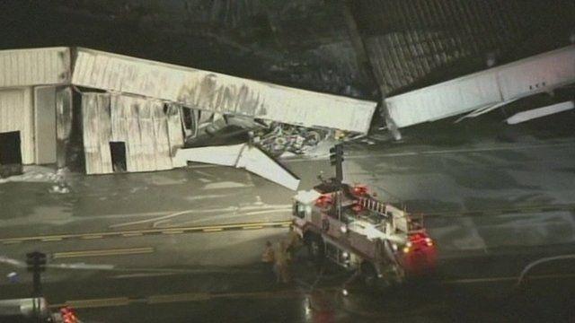 Aftermath of a plane crash at Santa Monica Municipal Airport