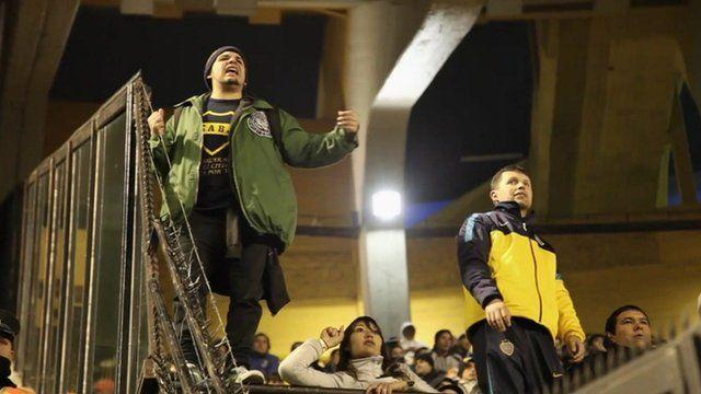 An Argentinean football fan shouting.