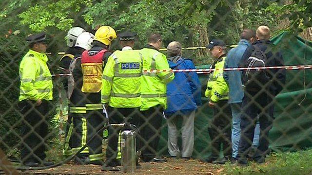 Police next to crash site