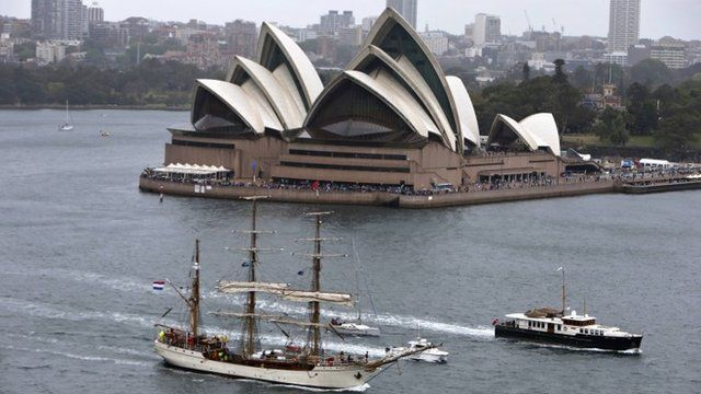 Tall ship in front of Sydney Opera House