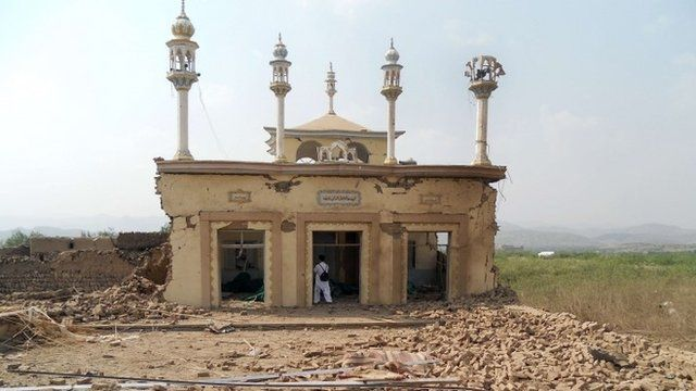 A badly damaged mosque after an attack by militants on the compound of Nabi Hanafi in north-western Pakistan