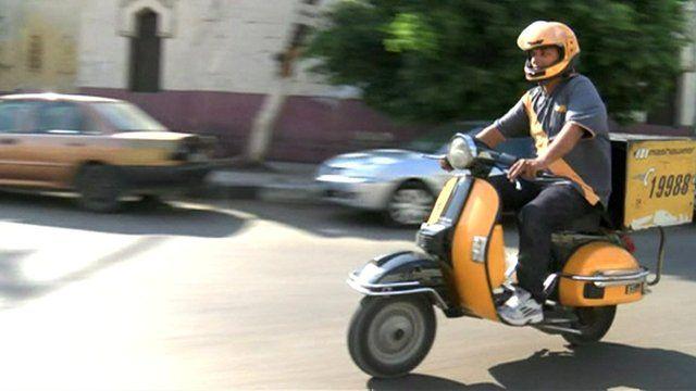 A motor bike on a Cairo road