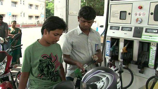 Motorbike at petrol pump