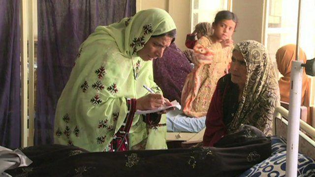 Female earthquake victims in hospital