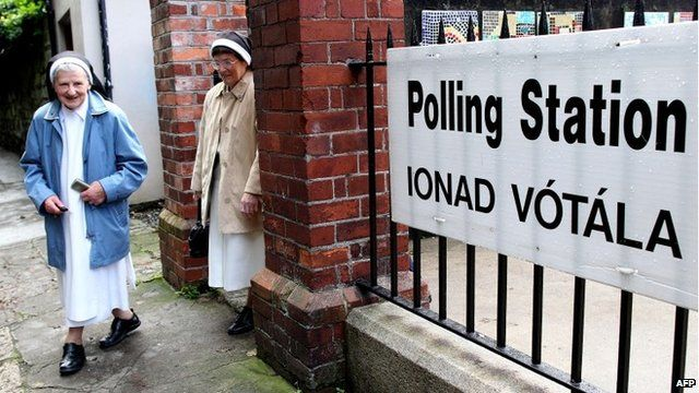 Voters at polling station in the Republic of Ireland