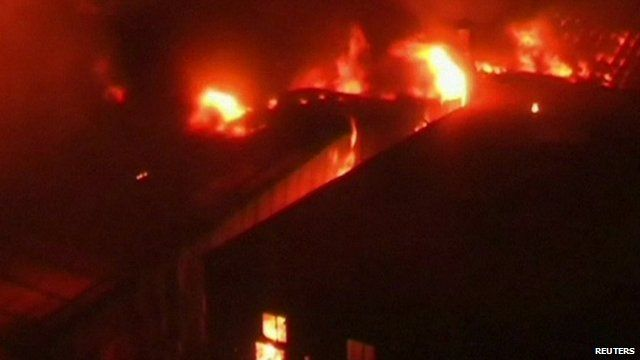 Fire engulfs a textile factory in Gazipur, Bangladesh.