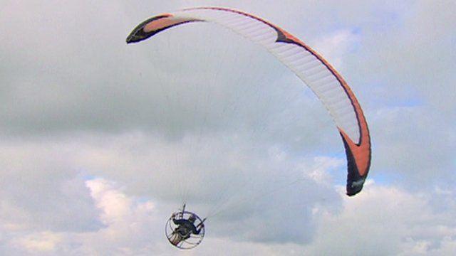 Man uses aero-engine