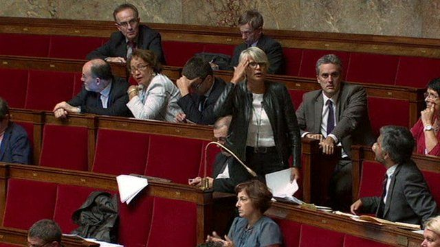 Veronique Massonneau attending a session at the National Assembly in Paris
