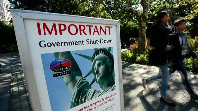 Sign warning of US shutdown