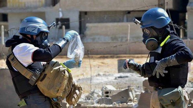 Chemical weapons inspectors in Ain Terma, Syria. 28 Aug 2013
