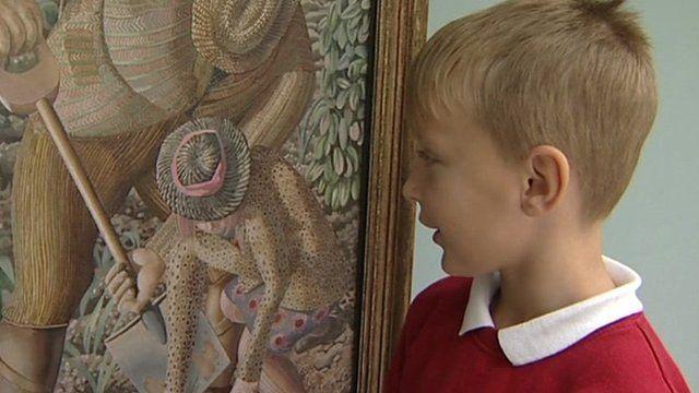 Boy next to Gardening painting