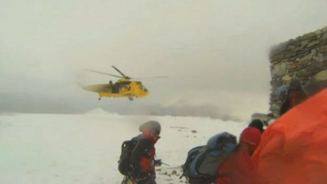 RAF helicopter and Llanberis Mountain Rescue Team