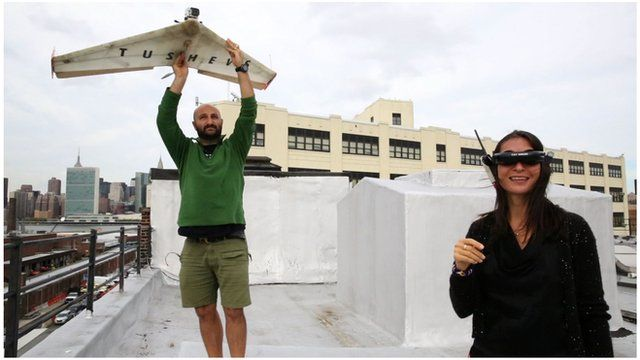 Georgi and Nina Tushev with a homemade drone