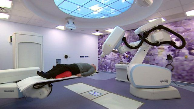 Someone being treated with CyberKnife