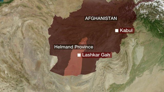 Map of Afghanistan showing where the attack took place