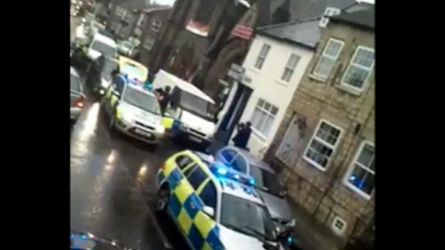 Armed police in High Street, Knaresborough