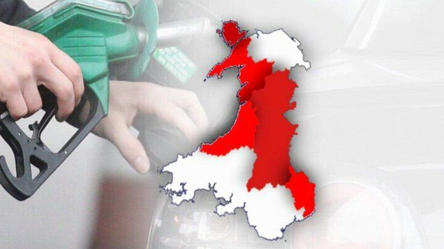 Fuel pump and Wales map
