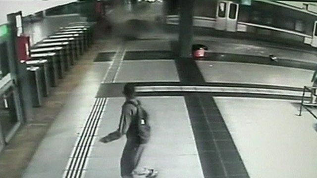 CCTV image of train crashing through barriers