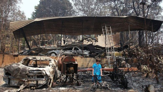 Charred remains of a a house in Winmalee