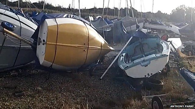 Damaged boats at Mengham Rythe Yacht Club