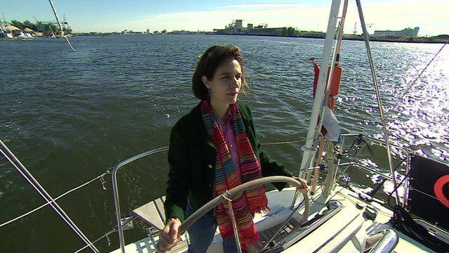 Dr Rebecca Gomperts steering boat