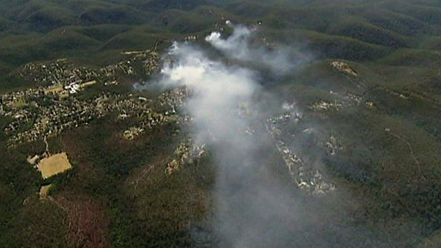 Aerial footage of the fires