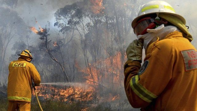 Firefighters battle bushfires in the Blue Mountains, west of Sydney