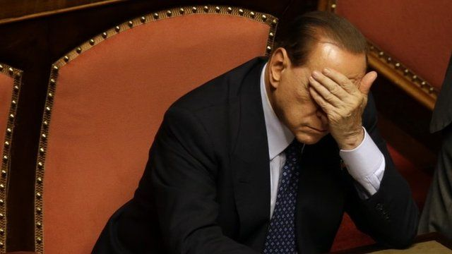Silvio Berlusconi with his hand over his eyes in the senate in Rome