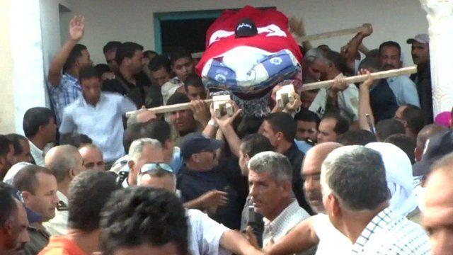 Police funeral in Sidi Bouzid in Tunisia
