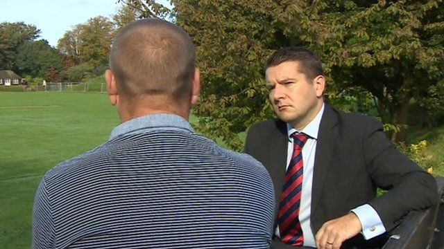"""""""Mark"""" talking to BBC South East Today correspondent Colin Campbell"""