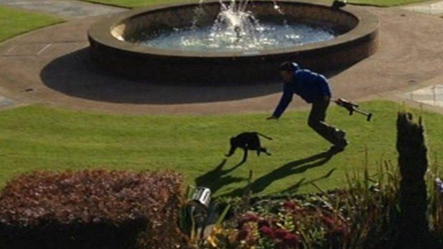Zoo keeper chases monkey