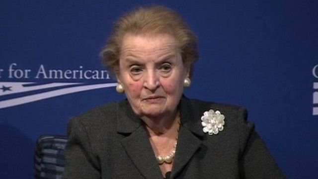 Madeleine Albright appeared at the Center for American Progress on 24 October 2013