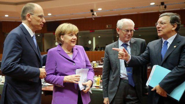 Italian Prime Minister Enrico Letta, German Chancellor Angela Merkel, European Council President Herman Van Rompuy and European Commission President Jose Manuel Barroso