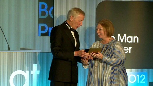 Hilary Mantel accepting a Booker Prize award