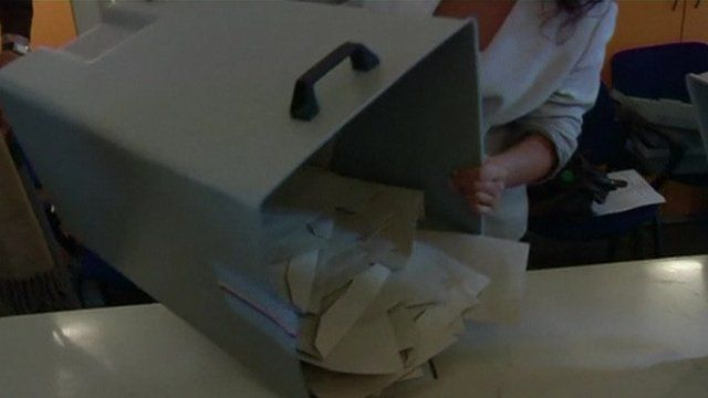 Container holding voting papers