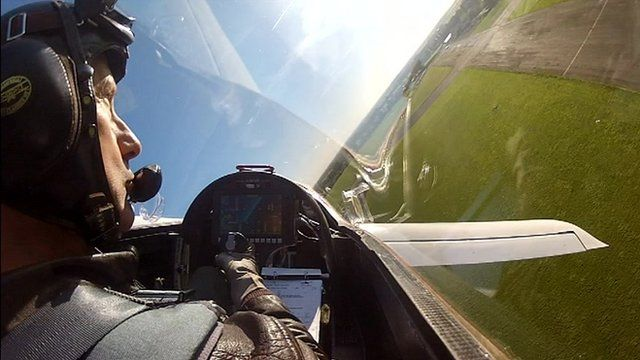 Pilot's view from the E-Go's test flight in Norfolk