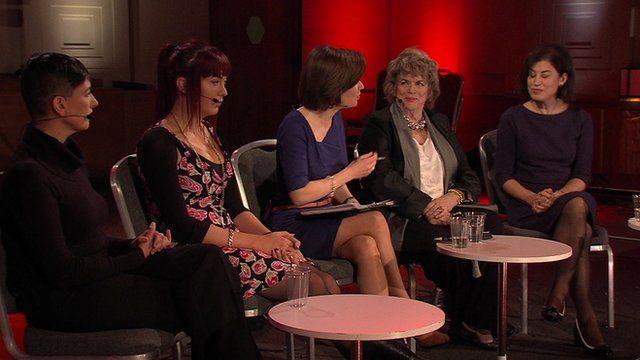 From L-R: Anna Arrowsmith, Paris Lees, Jane Hill (BBC), Ann Leslie, Natasha Walter