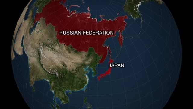 Map of Russia Federation and Japan