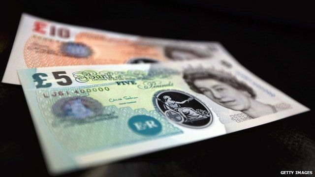 Sample Polymer Five and Ten pound banknotes