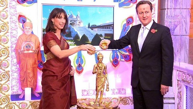 Samantha and David Cameron at the Swaminarayan Temple in Neasden, London