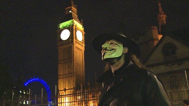 guy fawkes protest in central london on bonfire night bbc news