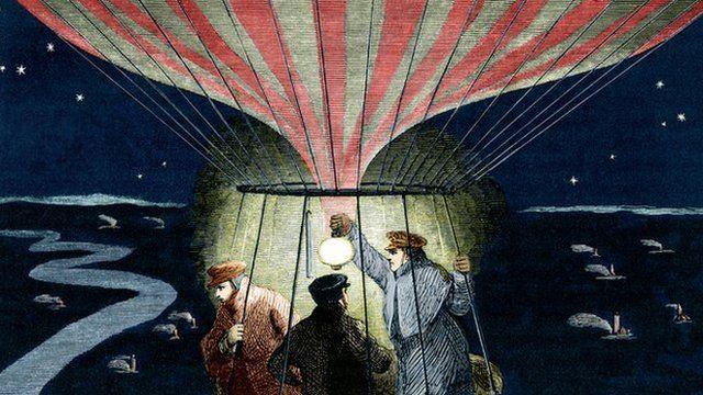 19th century hot air balloon flight at night