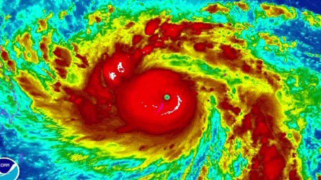 A satellite image shows Typhoon Haiyan picking up strength