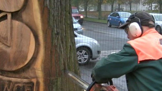 Tree being carved